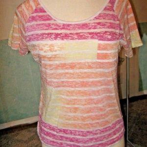 Pink Orange White Yellow Stripe Sheer Stretch Top
